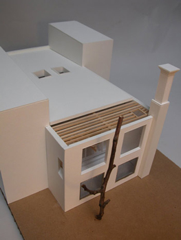 Model view with trellised garden