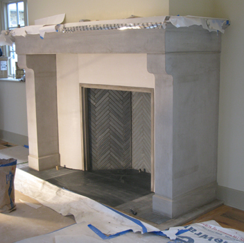 Three large limestone pieces assembled in place
